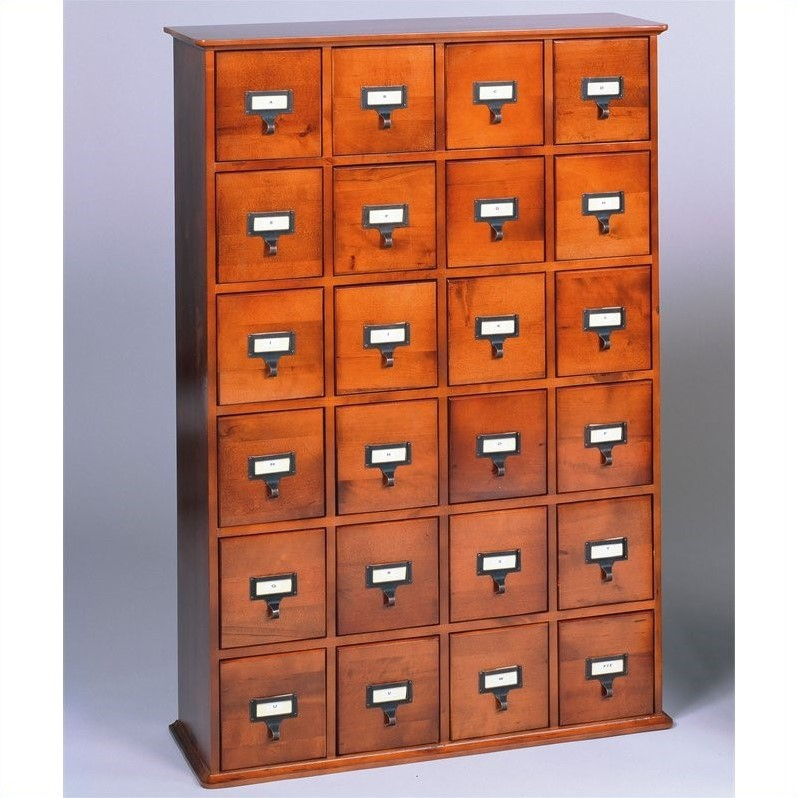 leslie dame 24 drawer cd media storage cabinet walnut ebay. Black Bedroom Furniture Sets. Home Design Ideas