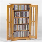 Leslie Dame CD/DVD Wall Hanging Mission Glass Multimedia Oak Cabinet