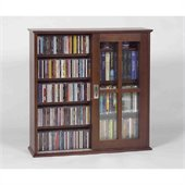 Leslie Dame Mission Wall Hanging Sliding Door CD/DVD Cabinet in Walnut