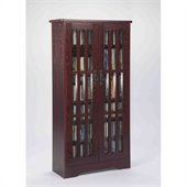Leslie Dame 62 Inch Tall CD/DVD Media Storage Cabinet in Dark Cherry