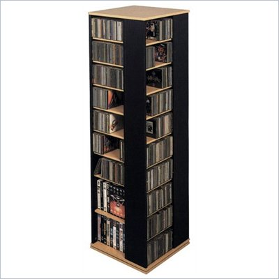 Leslie Dame CD DVD Spinning Tower in Black with Oak Trim