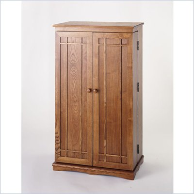 Leslie Dame CD/DVD Media Storage Cabinet with Door in Dark Oak