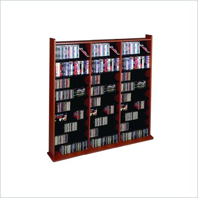 Leslie Dame Deluxe CD/DVD Media Storage Wall Unit Rack in Cherry