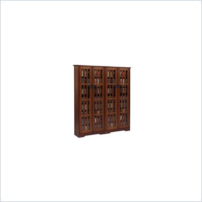 Leslie Dame Double CD/DVD Wall Rack Media Storage in Dark Cherry