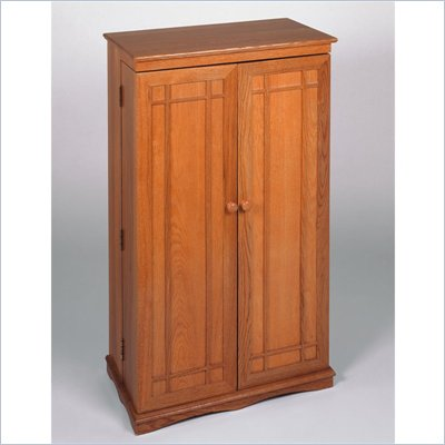 Leslie Dame CD/DVD Media Storage Cabinet with Door in Oak