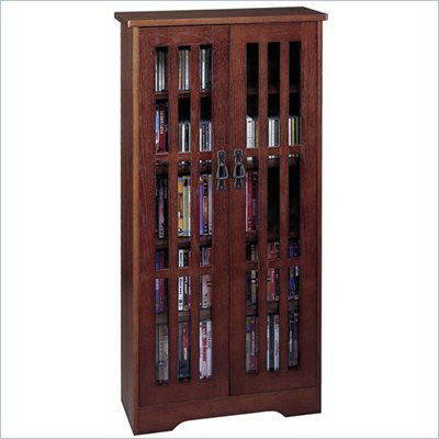 Leslie Dame 48 Inch Tall CD/DVD Wall Rack Media Storage Walnut Cabinet