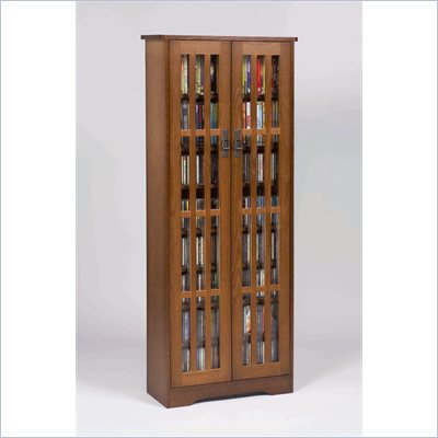 Leslie Dame 62 Inch Tall CD/DVD Media Storage Cabinet in Walnut