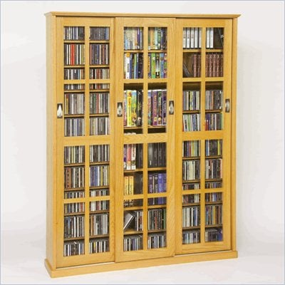 Leslie Dame Triple CD/DVD Wall Rack Media Storage in Oak