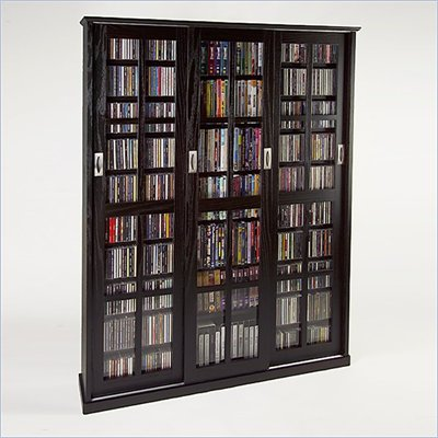 Leslie Dame Triple CD/DVD Wall Rack Media Storage in Espresso