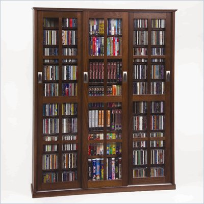 Leslie Dame Triple CD/DVD Wall Rack Media Storage in Walnut