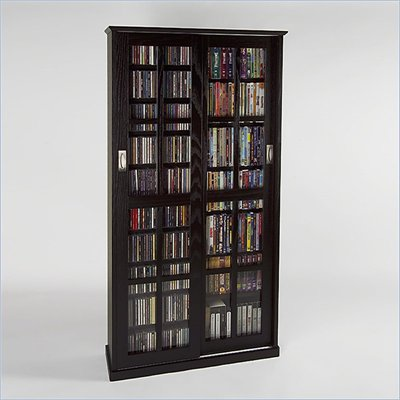 Leslie Dame CD/DVD Wall Rack Media Storage in Espresso
