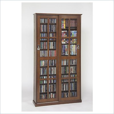 Leslie Dame CD/DVD Wall Rack Media Storage in Walnut with Glass Door