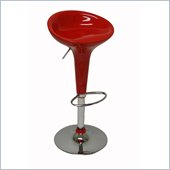 Boraam ABS Height Adjustable Scoop Bar Stool in Red (Set of Two)