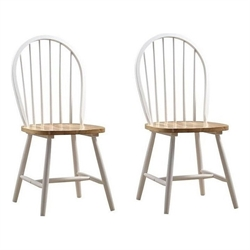 Boraam Farmhouse  Dining Chair in White and Natural (Set of Two)