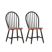 Boraam Farmhouse Wood Chair in Black and Cherry (Set of Two)