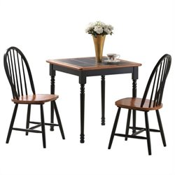 Boraam Square Tile Top 3 Piece Dinette Set in Black and Cherry