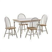 Boraam Tile Top 5 Piece Dining Set in White and Natural