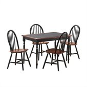 Boraam Tile Top 5 Piece Dining Set in Black and Cherry