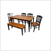 Boraam 6 Piece Shaker Dining Set in Black and Oak