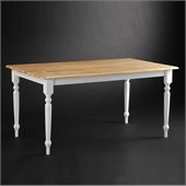 Boraam Farmhouse 36 x 60 Dining Table in White and Natural