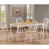 Boraam Farmhouse 5-Piece Dining Set in White and Natural