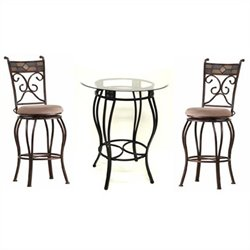 Boraam Beau Bar Height Metal 3 Pieces Pub Set in Black and Gold
