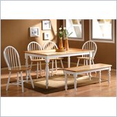 Boraam Farmhouse 6 Piece Dining Set in White and Natural