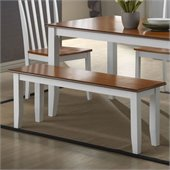 Boraam Bloomington Bench in White/Honey Oak
