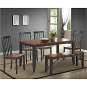 Boraam Bloomington 6 Piece Dining Set in Black/Cherry
