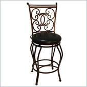 Boraam Roma 24 Metal Swivel Bar Stool in Bronze Black Vein