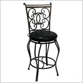 Boraam Roma 29 Metal Swivel Bar Stool in Silver Black Vein