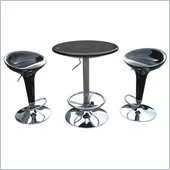 Boraam Luna 3 Piece Adjustable Pub Set in Black