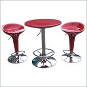 Boraam Luna 3 Piece Adjustable Pub Set in Red