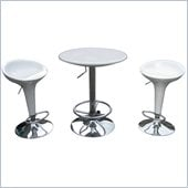 Boraam LUna 3 Piece Adjustable Pub Set in White