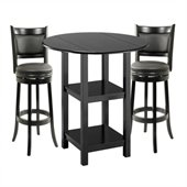 Boraam Powellton 3 Piece Pub Set in Black