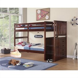 Boraam Twin Over Twin Bunk Bed in Cappuccino