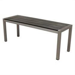 Boraam Fresca Polylumber Bench in Solid Brushed Aluminum