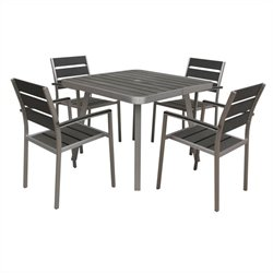 Boraam Canaria 5 Piece Metal Patio Dining Set in Aluminum