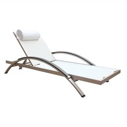 Boraam Fresca Outdoor Lounge Chair in White Fabric (Set Of 2)