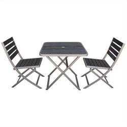 Boraam Fresca 3 Piece Metal Patio Dining Set in Gray
