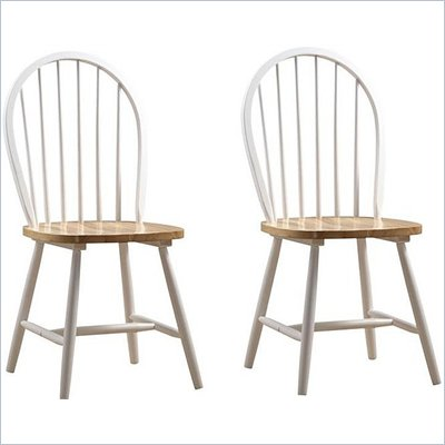 Boraam Farmhouse Wood Chair in White and Natural (Set of Two)