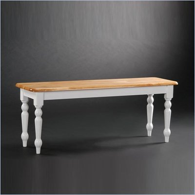 Boraam Farmhouse Wood Dining Bench in White and Natural