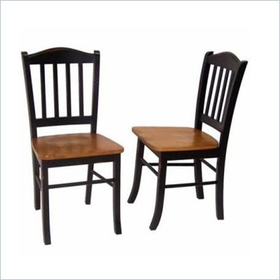 Boraam Shaker Wood Chair in Black and Oak (Set of Two)
