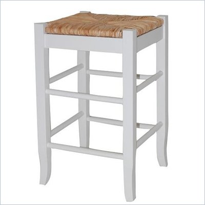 "Boraam Square Rush 24"" Stationary Counter Stool in White"