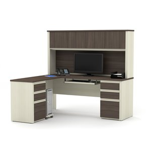 Bestar Prestige Plus L-Desk with Hutch in White Chocolate and Antigua