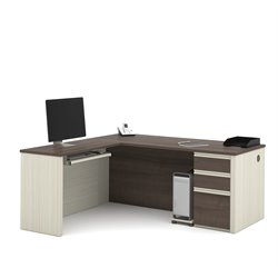 Bestar Prestige Plus L-Desk in White Chocolate and Antigua