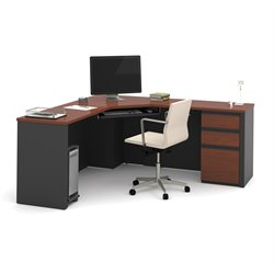 Bestar Prestige Plus Corner Desk in Bordeaux and Graphite