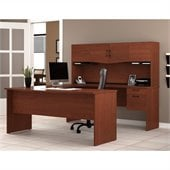 Bestar Harmony U-Shape Wood Home Office Set in Bordeaux