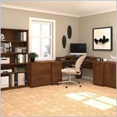 Bestar Elite Corner Wood Office Set in Tuscany Brown