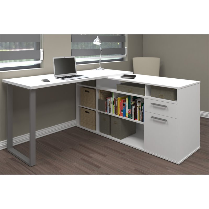 Bestar Solay L-Shaped Desk In White